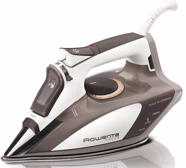 Rowenta DW5080 Focus 1700-Watt Micro Steam Iron Stainless Steel Soleplate with Auto-Off, 400-Hole, Brown