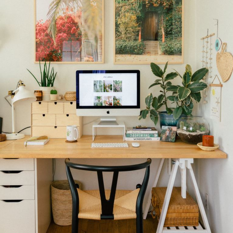 Home office space with plants