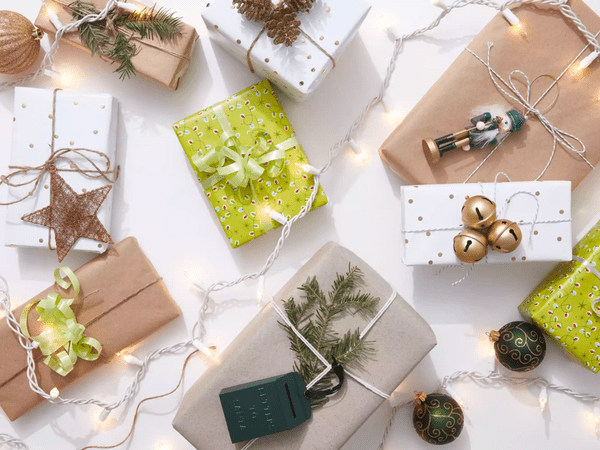 wrapped presents and string lights