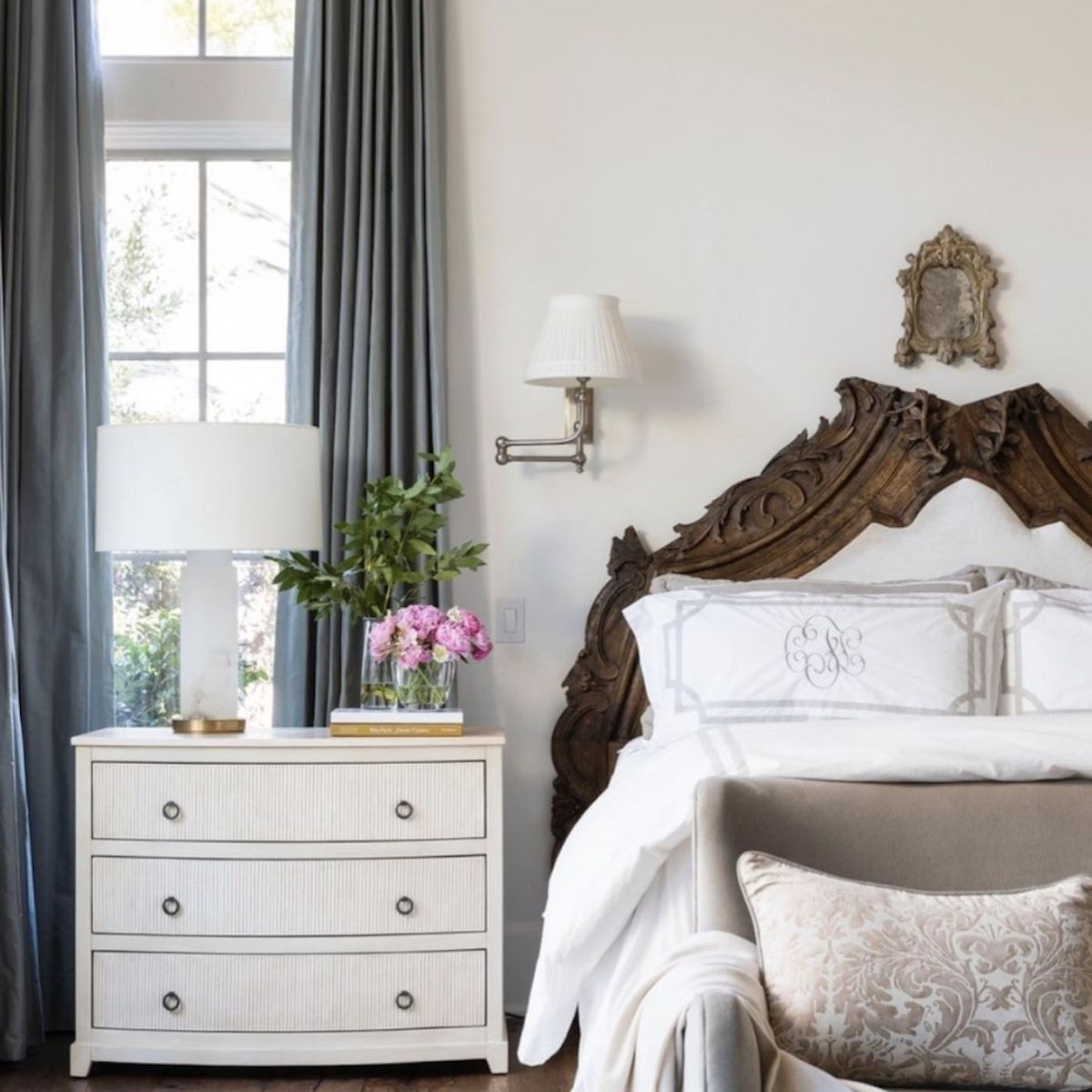 neutral bedroom with ornamental romantic vibes
