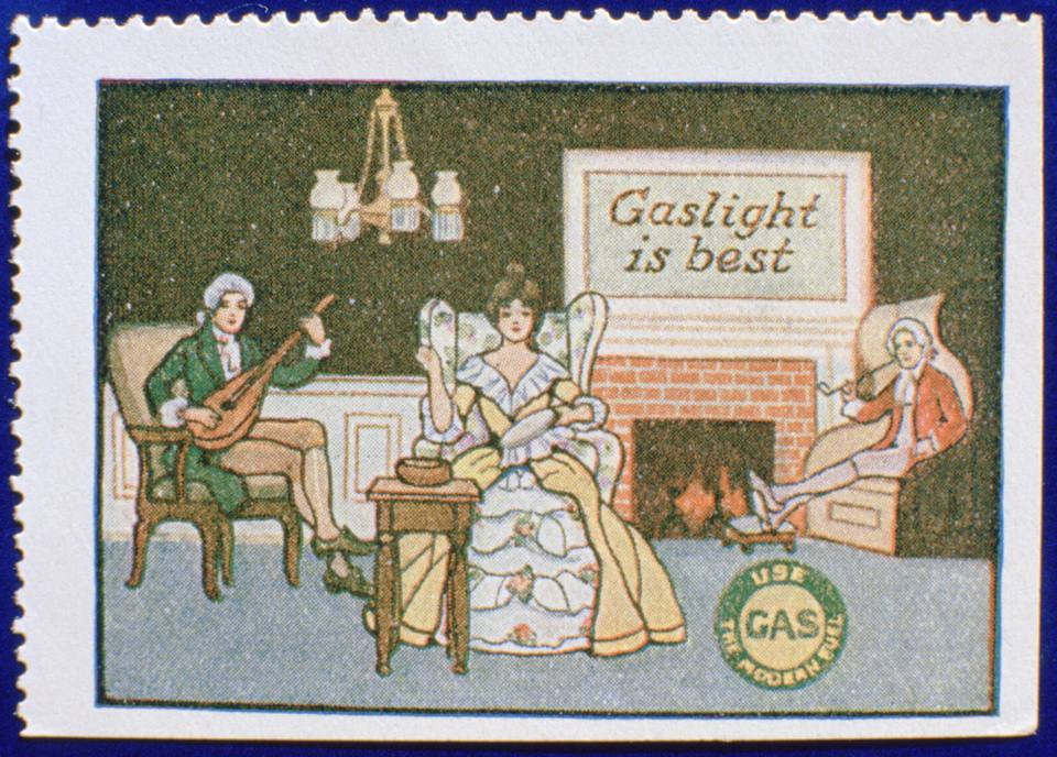 Early gas lighting advertisement label