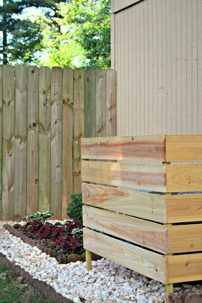 wooden outdoor ac unit cover