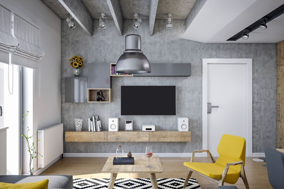 A TV integrated into modern, industrial decor