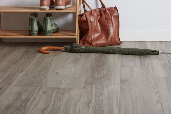Vinyl floor with umbrella and purse