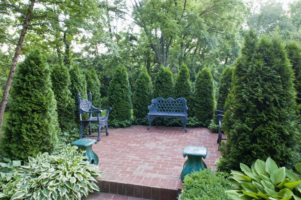 Patio surrounded by Thuja