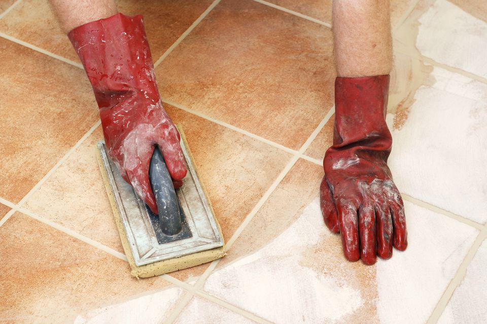 Cleaning off excess tile grout