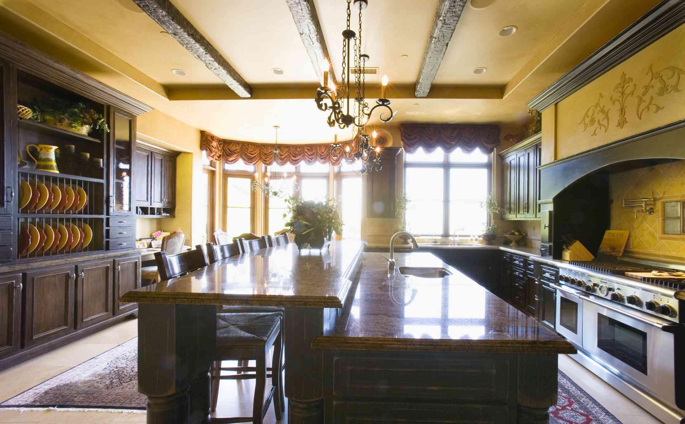 Tuscan-style kitchen.