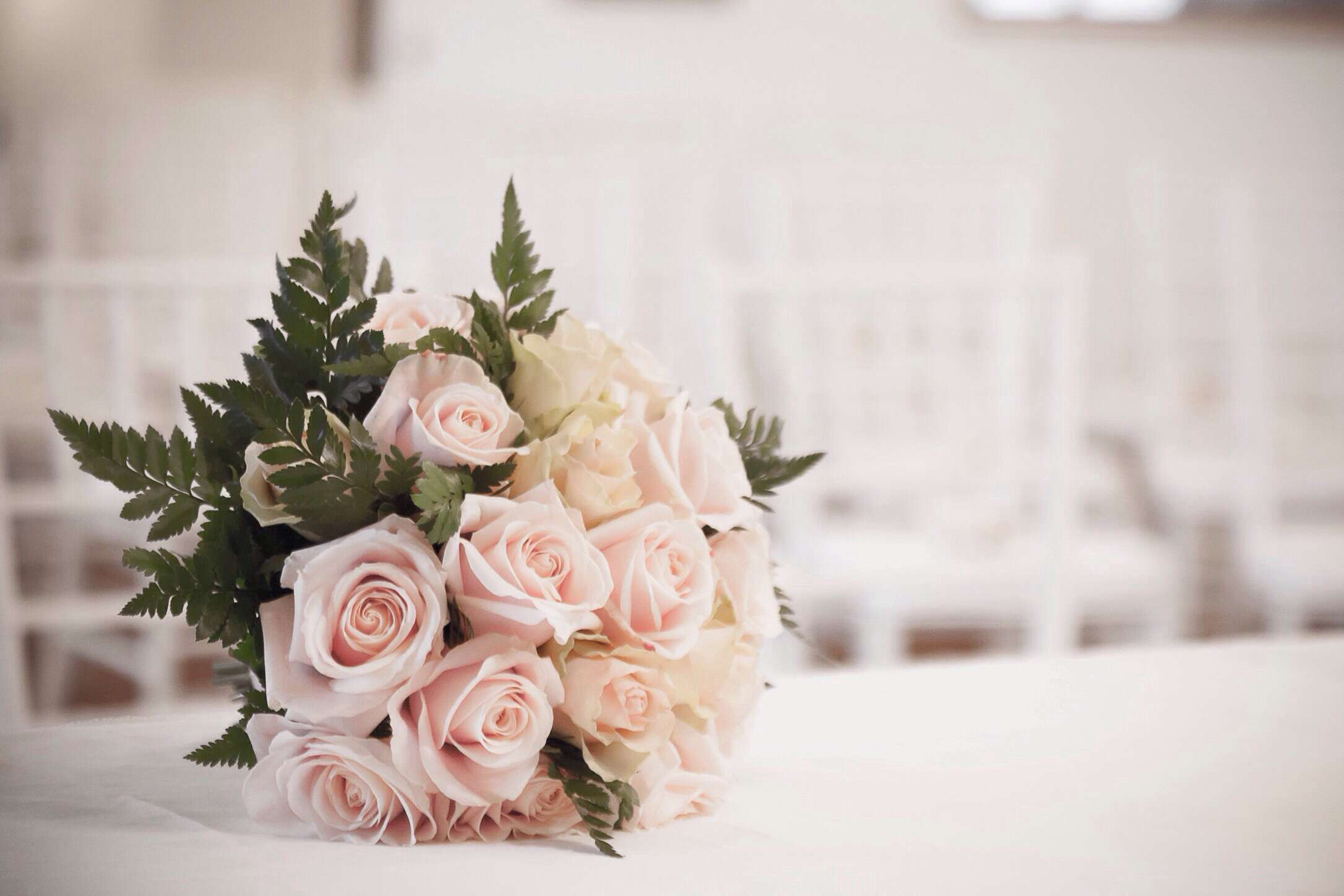 Rose wedding bouquet on a table