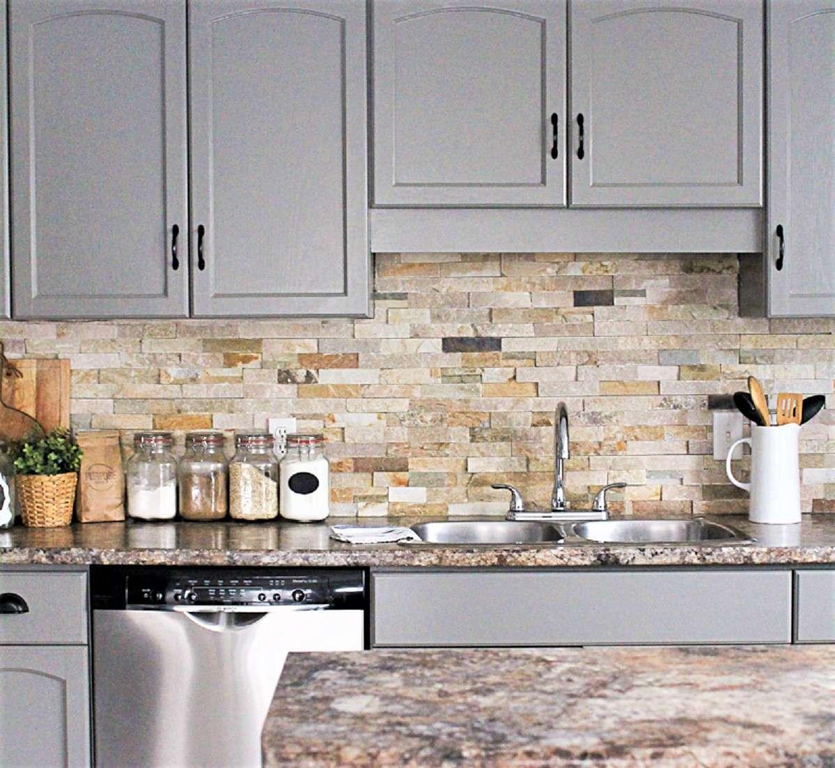 Gabinetes de cocina pintados de color gris magnífico