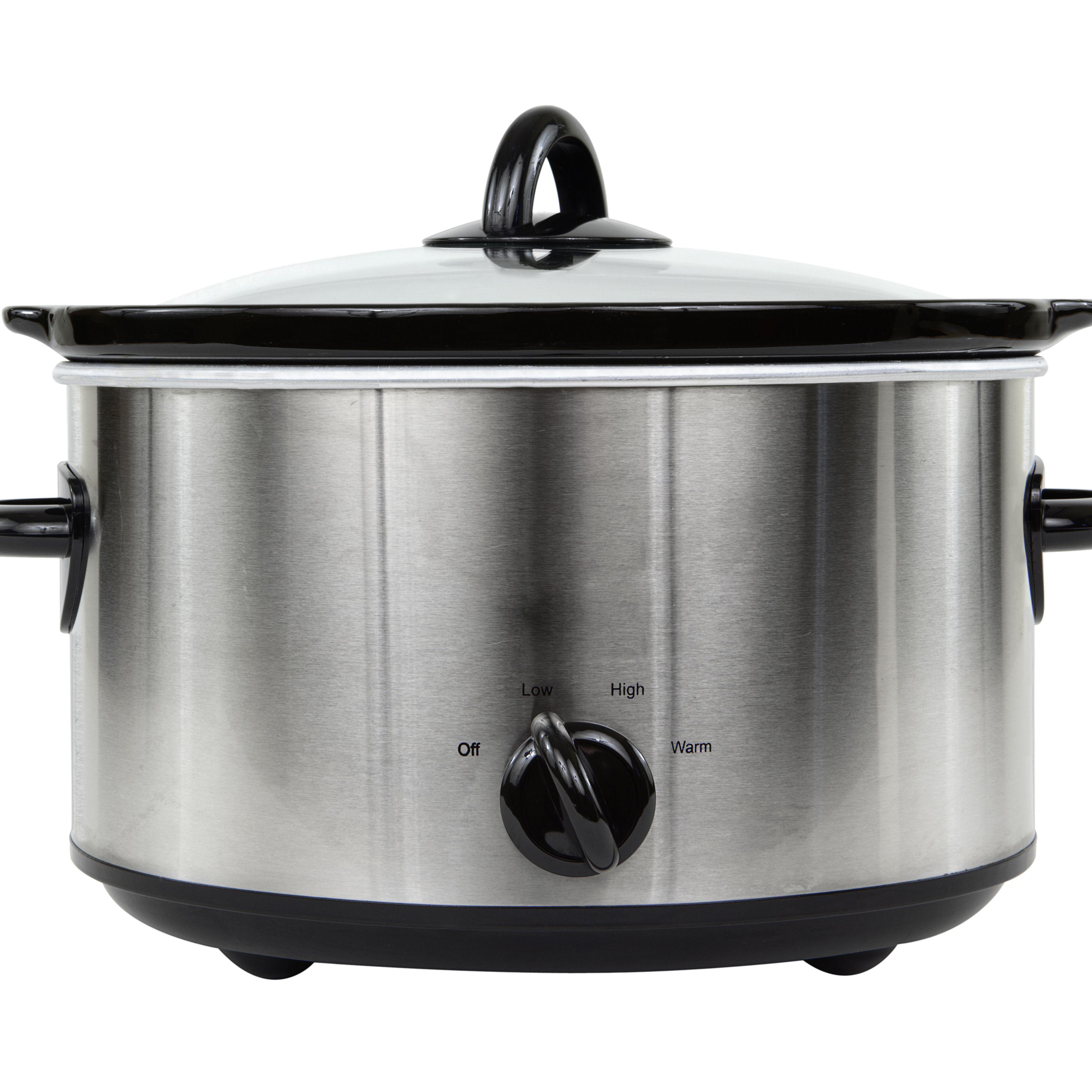 Crock-Pot Slow Cooker Large Oval 6 Quart Stainless Steel Manual Crockpot New