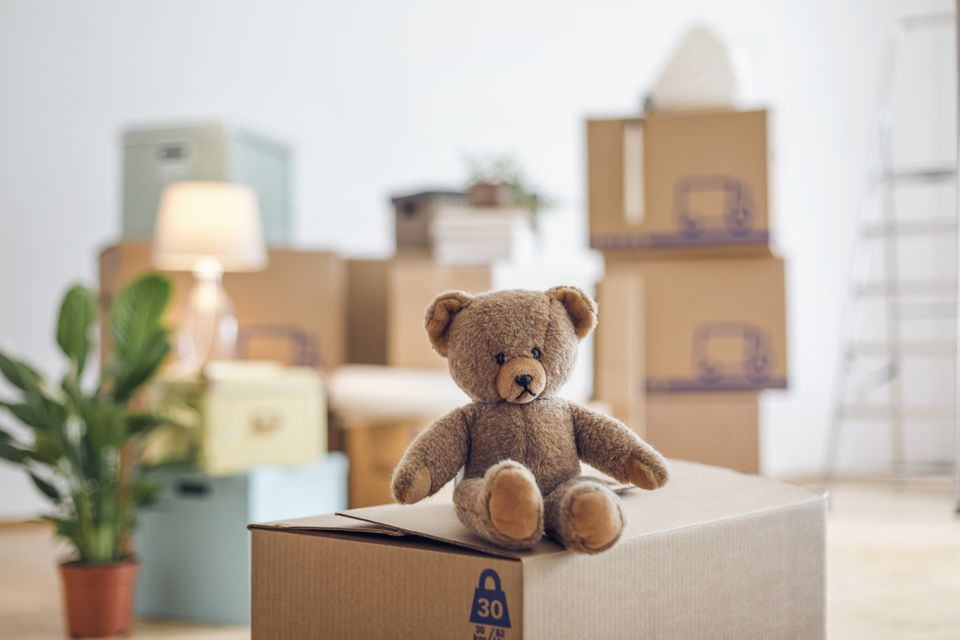 Teddy bear on cardboard box in an empty room in a new home