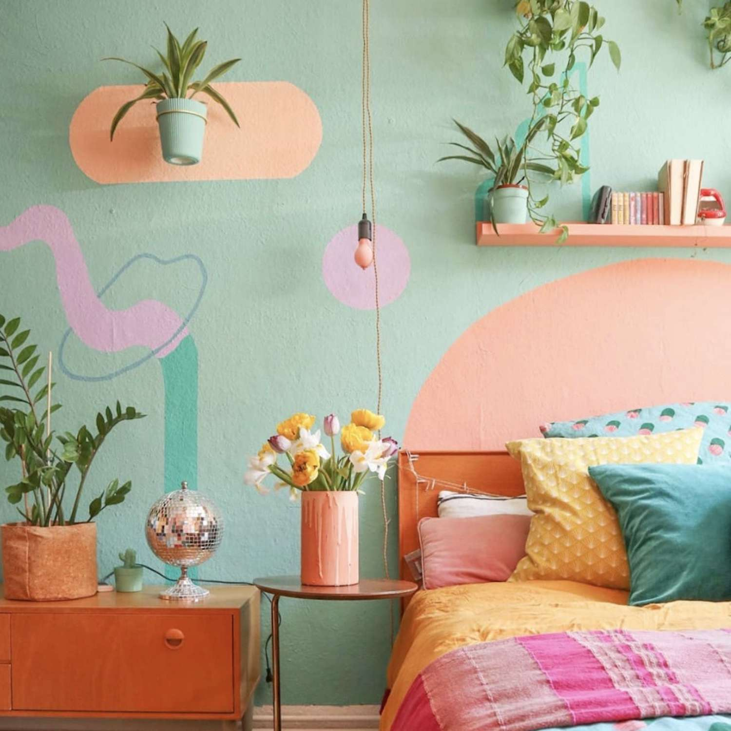 pink, blue, and golden yellow playful bedroom