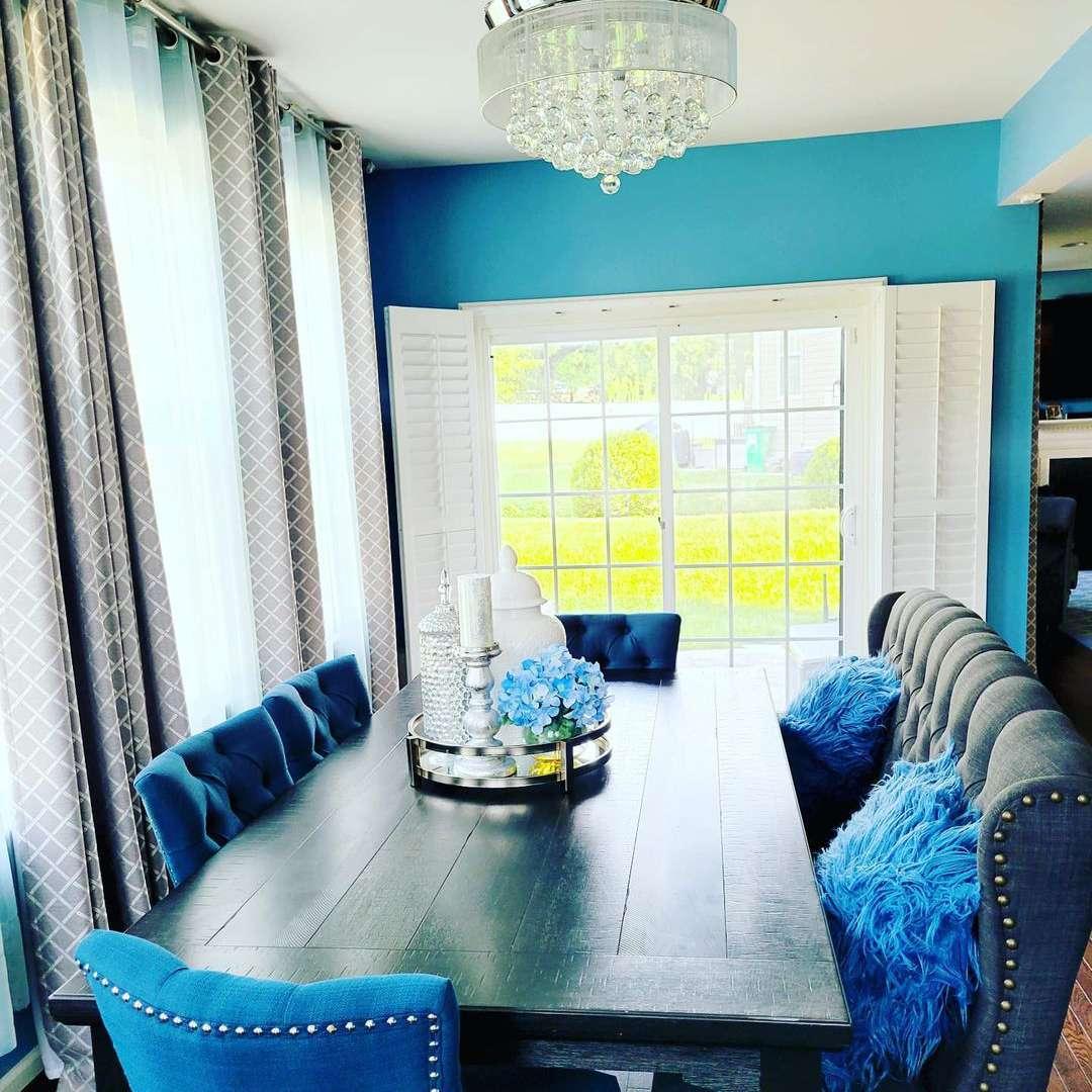 nailhead chairs blue