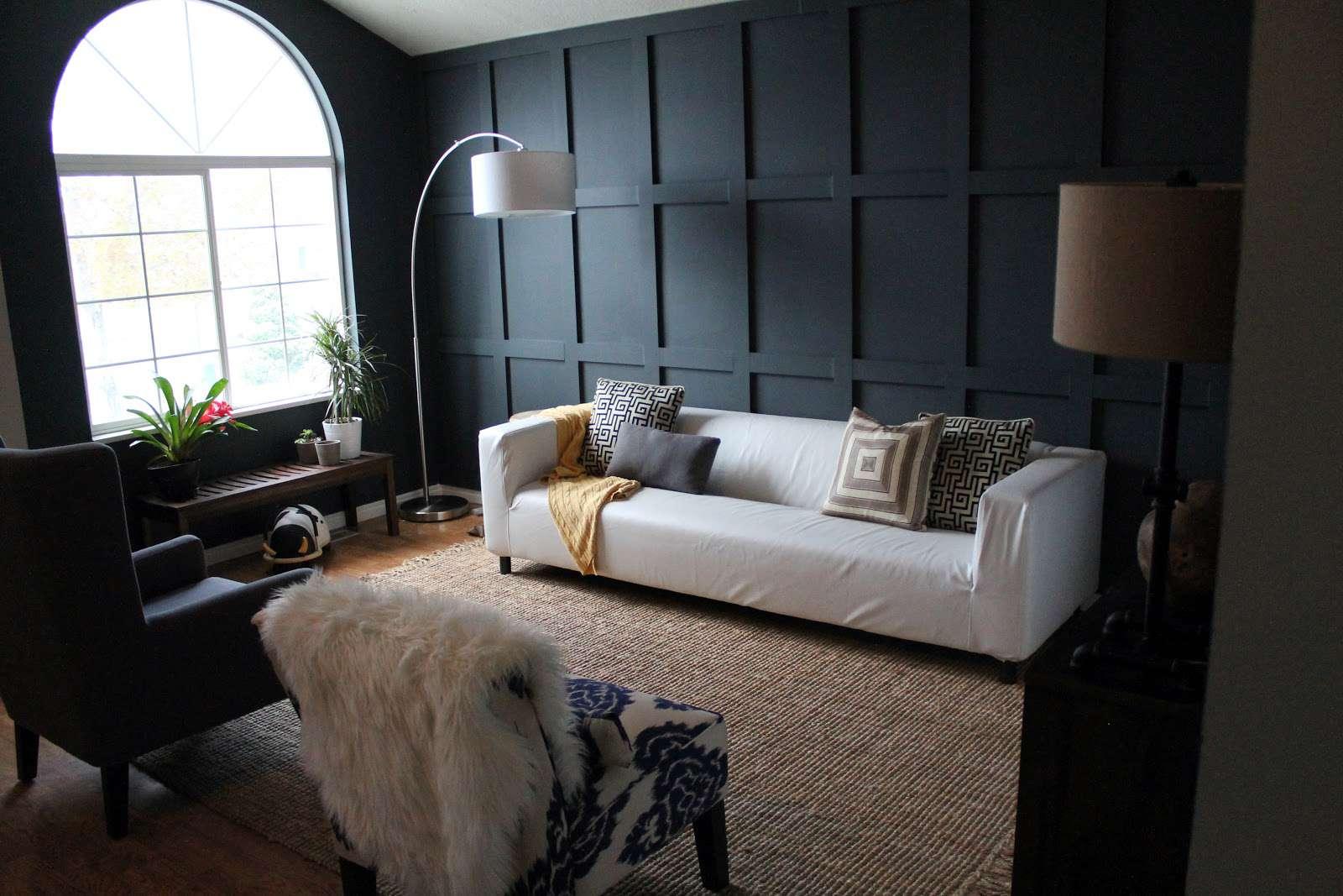 wainscotting dark living room