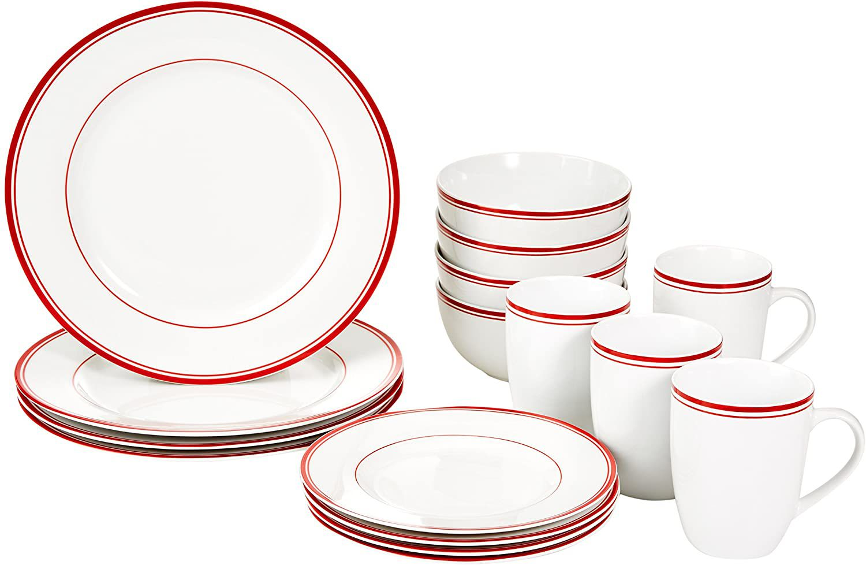 AmazonBasics 16-Piece Cafe Stripe Dinnerware Set in Red