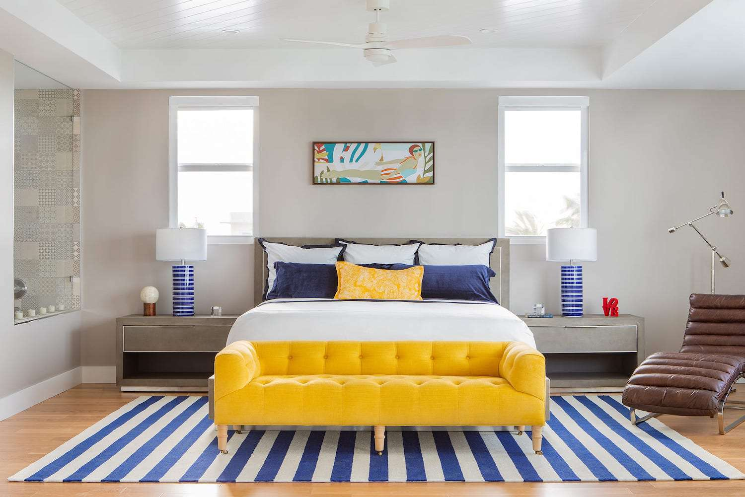bedroom with yellow and blue decor
