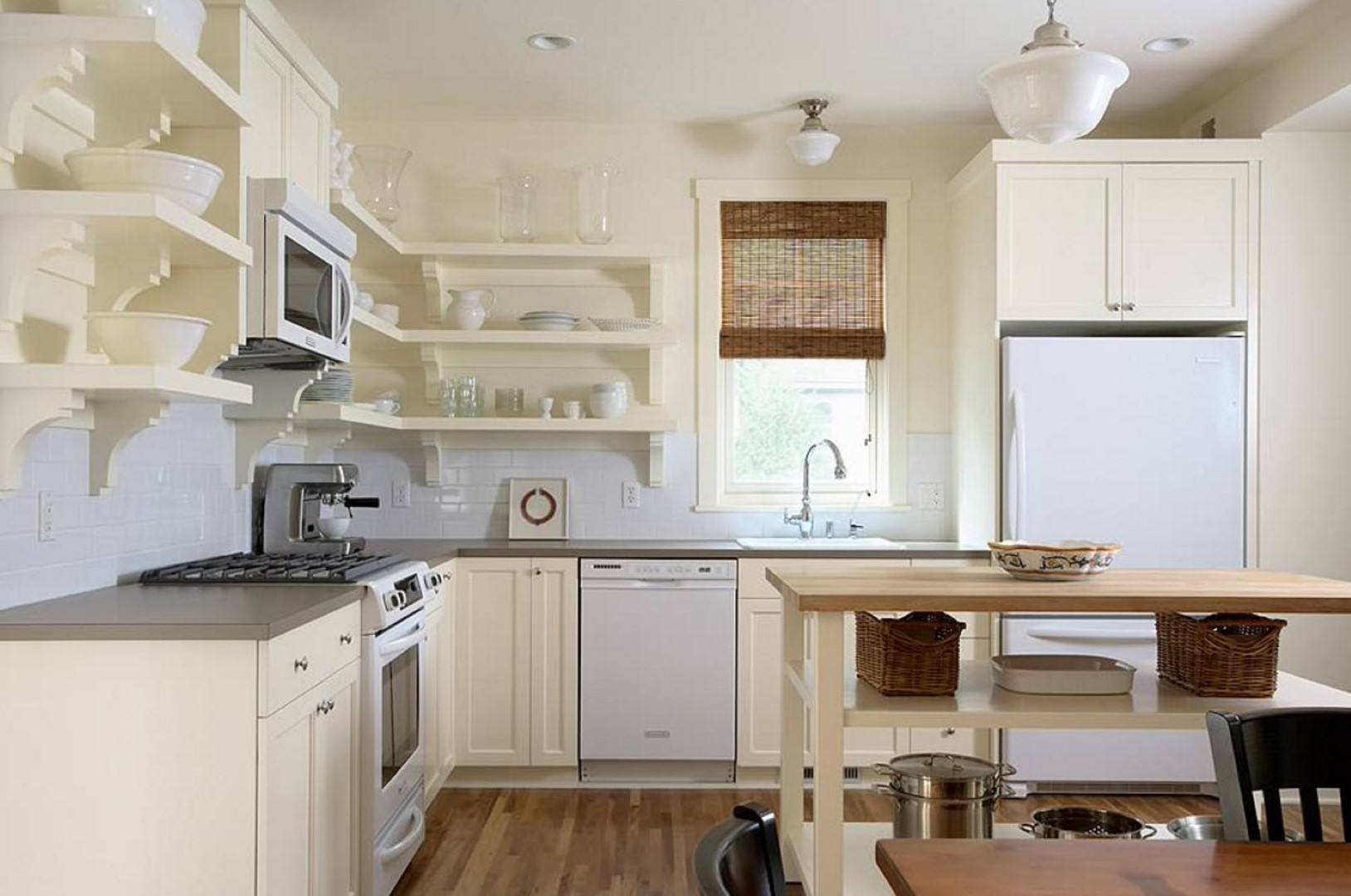 gray laminate countertop in cottage style kitchen