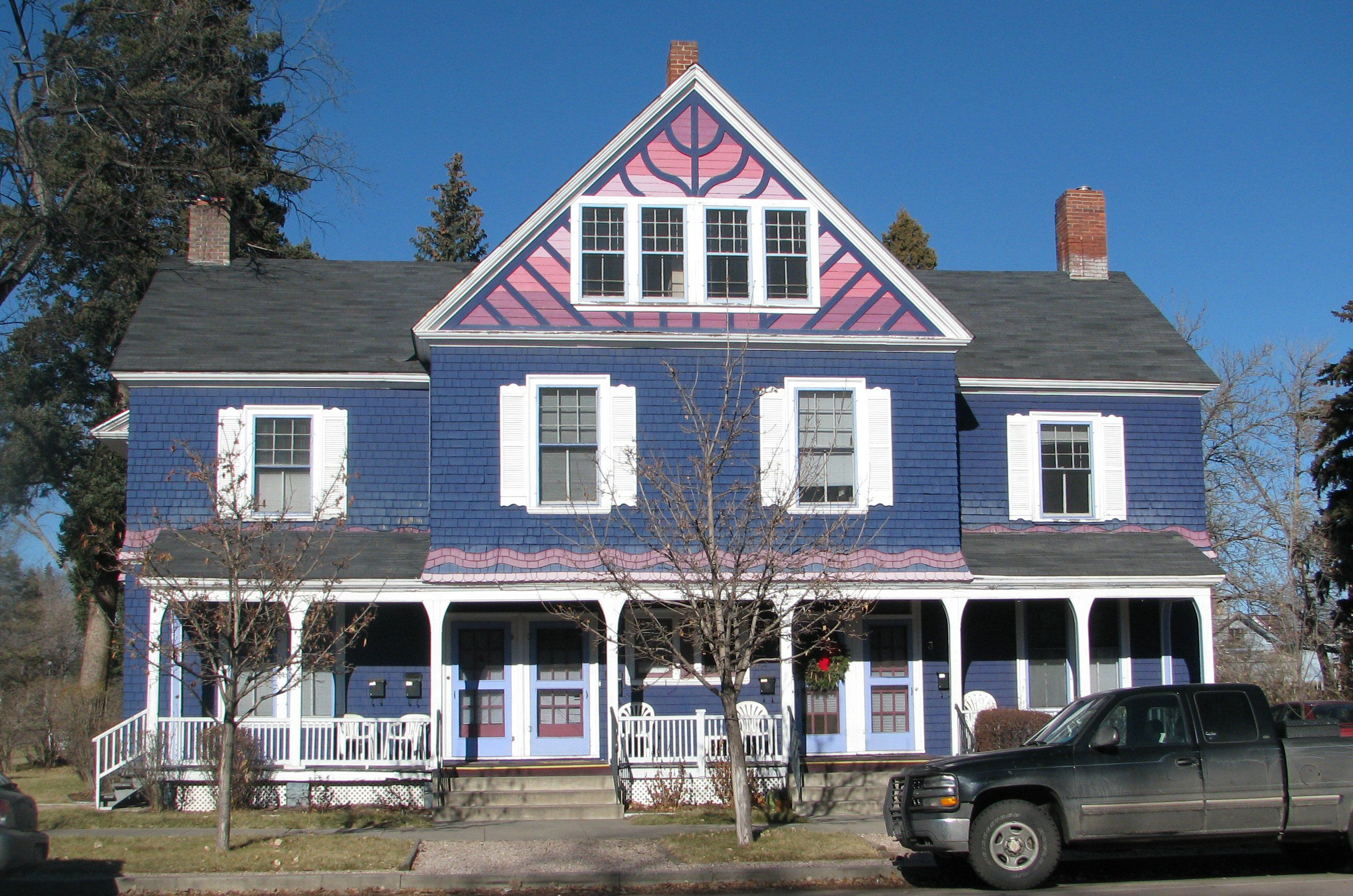 Blue Victorian House with Pink Gable