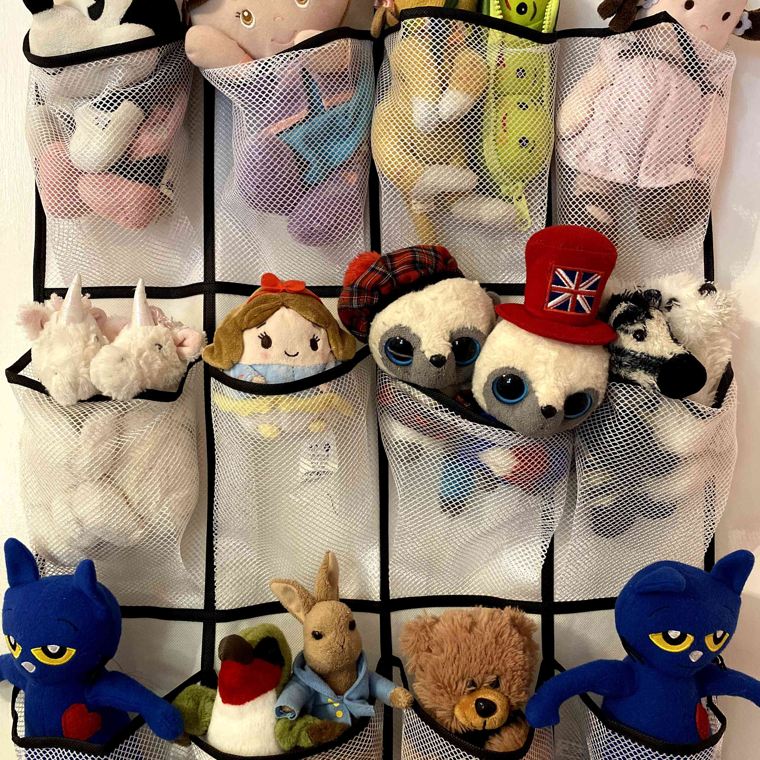 Over the door shoe holder stores stuffed animal toys