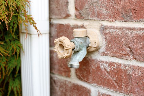 Outdoor spigot with tan knob on brick wall next to white gutter and plants