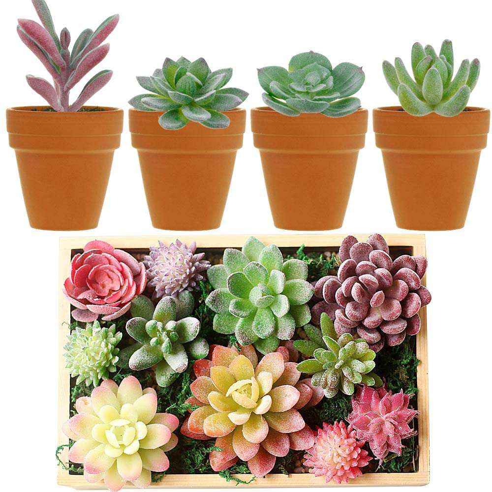 Augshy 16-Pack Artificial Unpotted Succulents
