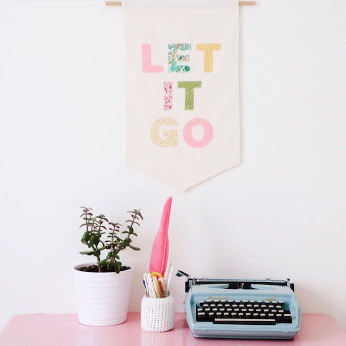 typewriter on desk and banner