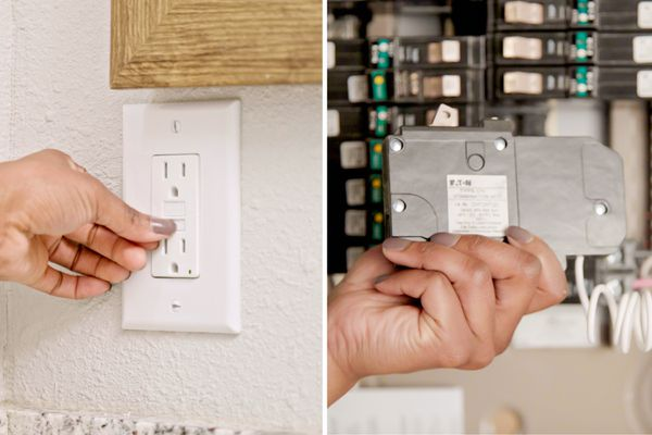 ide by side comparison of a GFCI receptacle and circuit breaker