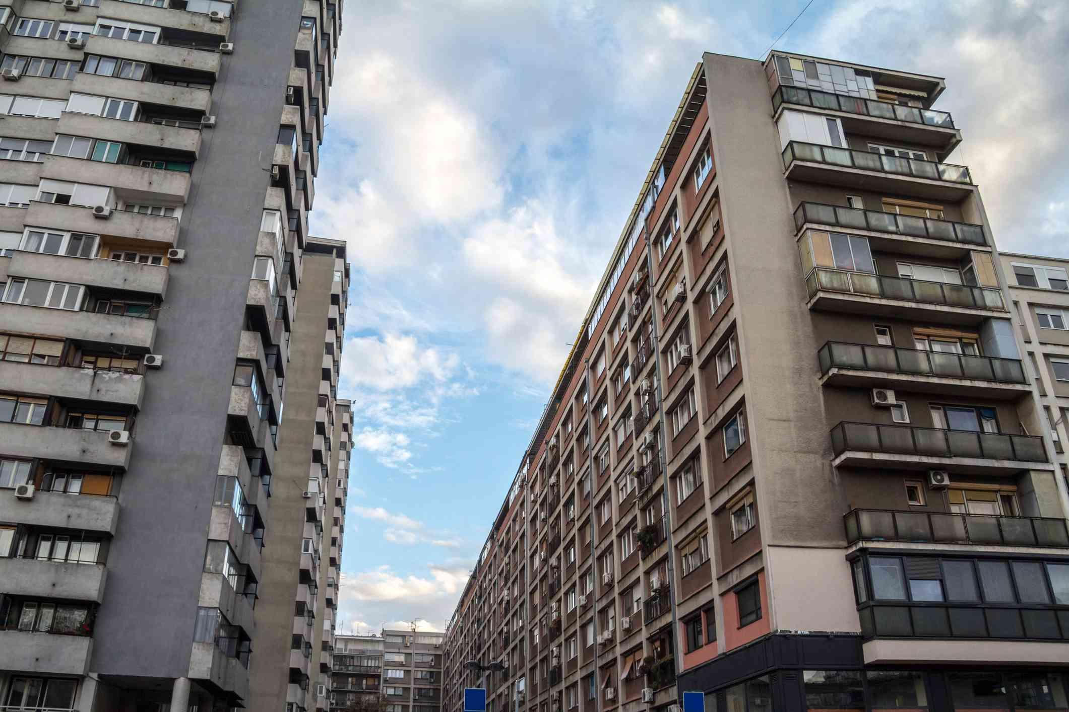 Brutalist-style Communist housing in Belgrade, Serbia