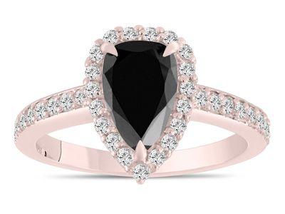 2-Carat Pear Shaped Black Diamond Engagement Ring, Rose Gold Setting