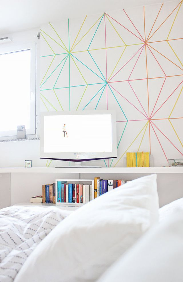 Geometric accent wall using colored Sharpies