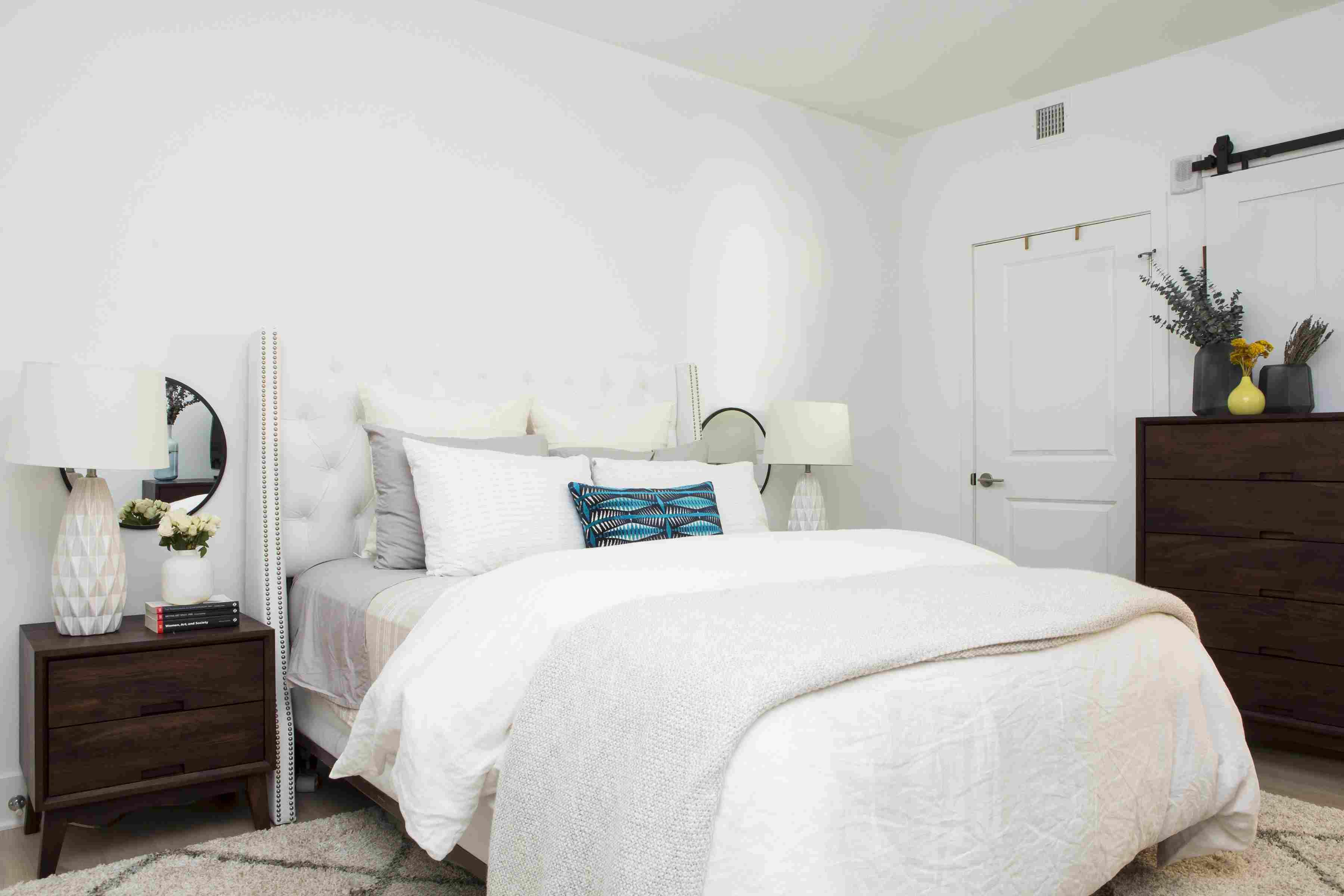 crisp, white, traditional bedroom