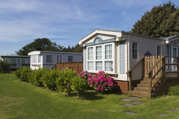 Luxury mobile homes in a row