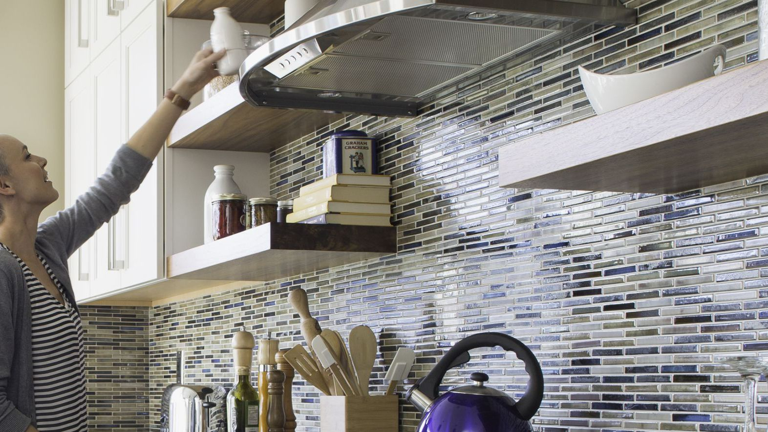 Kitchen Open Shelving and Mosaic Tile Hero 56a4a0f33df78cf