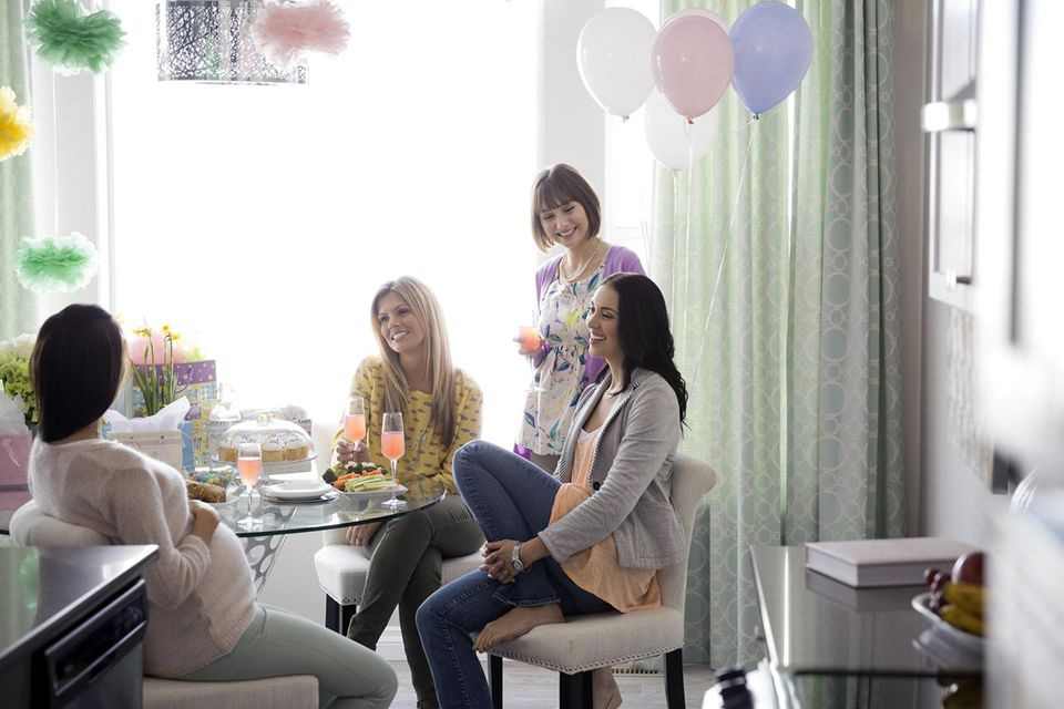 Women talking at baby shower