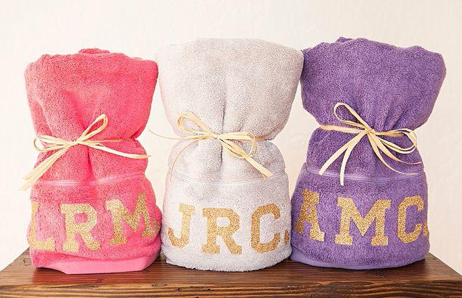 Glitter Monogram Towels