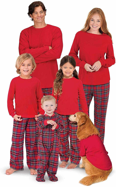 PajamaGram Classic Flannel Plaid Matching Family Christmas Pajama Set