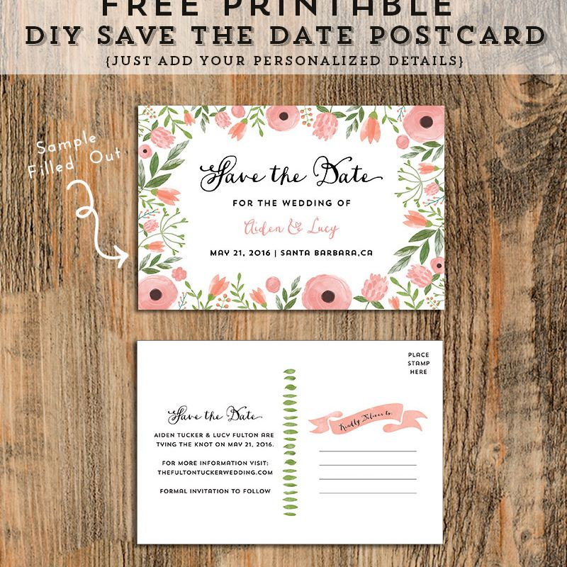 A Pink And Green Fl Save The Date Wedding Template