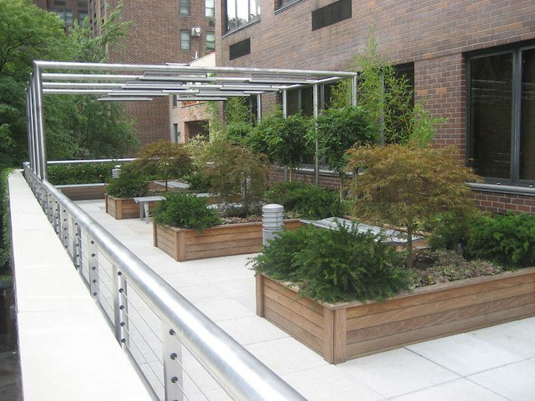 Balcony of brick buidling with wood raised beds and small shrub plantings