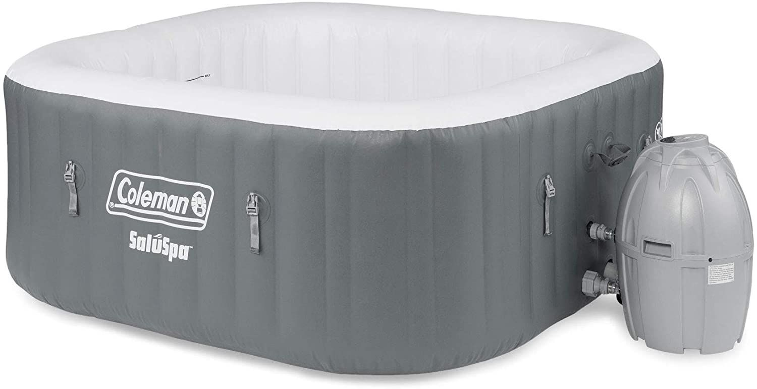Coleman 15442-BW SaluSpa 4 Person Portable Inflatable Outdoor Square Hot Tub Spa with 114 Air Jets