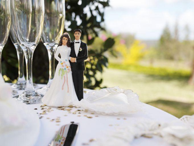 wedding couple figurine on table