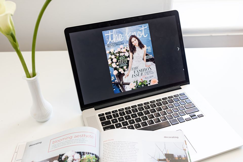 The Knot e-magazine on a laptop