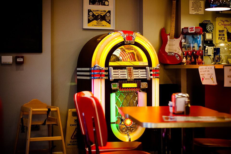 Jukebox in a soda shop.