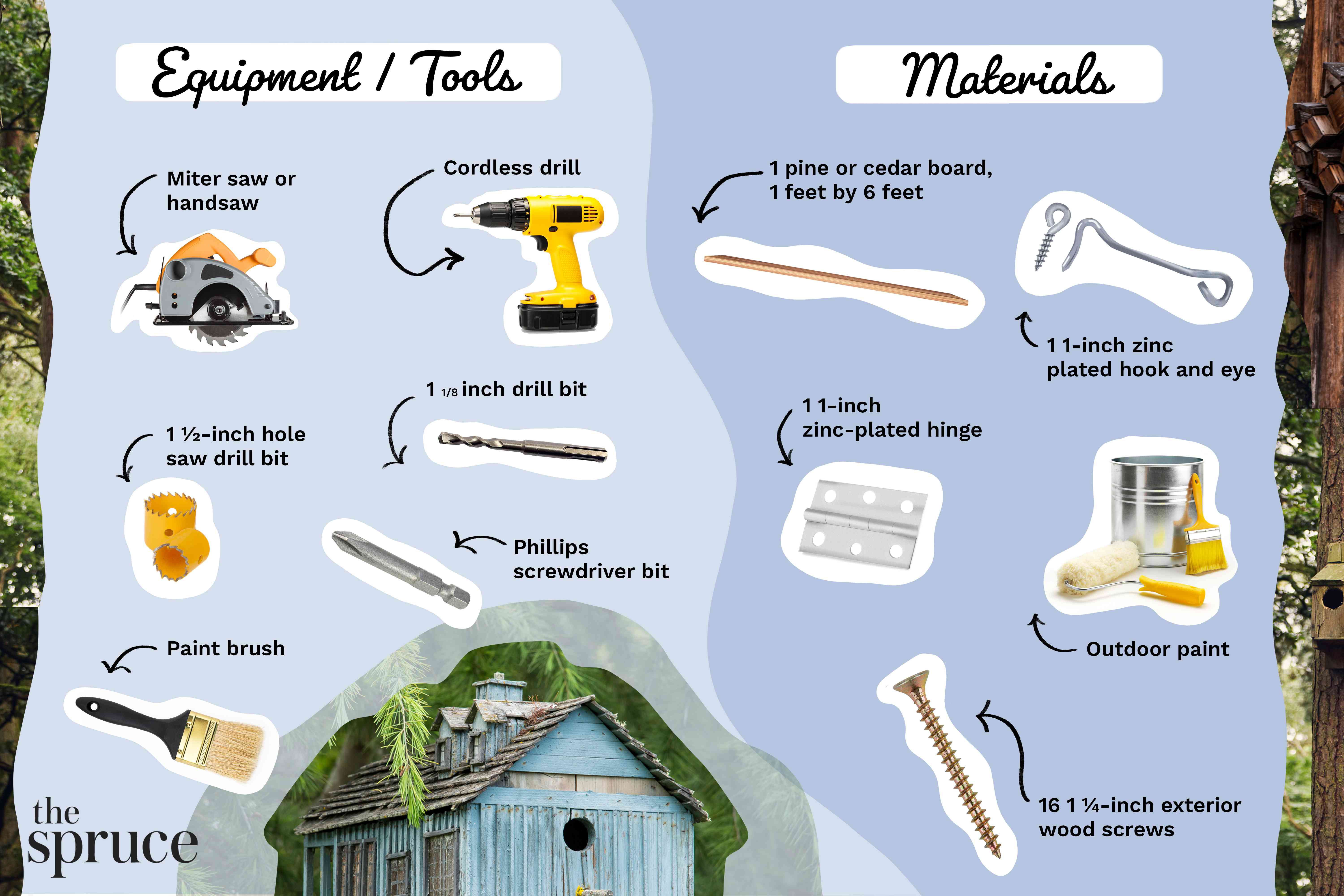 Materials and tools illustration to build a birdhouse