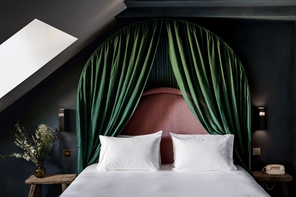 Green curtain headboard