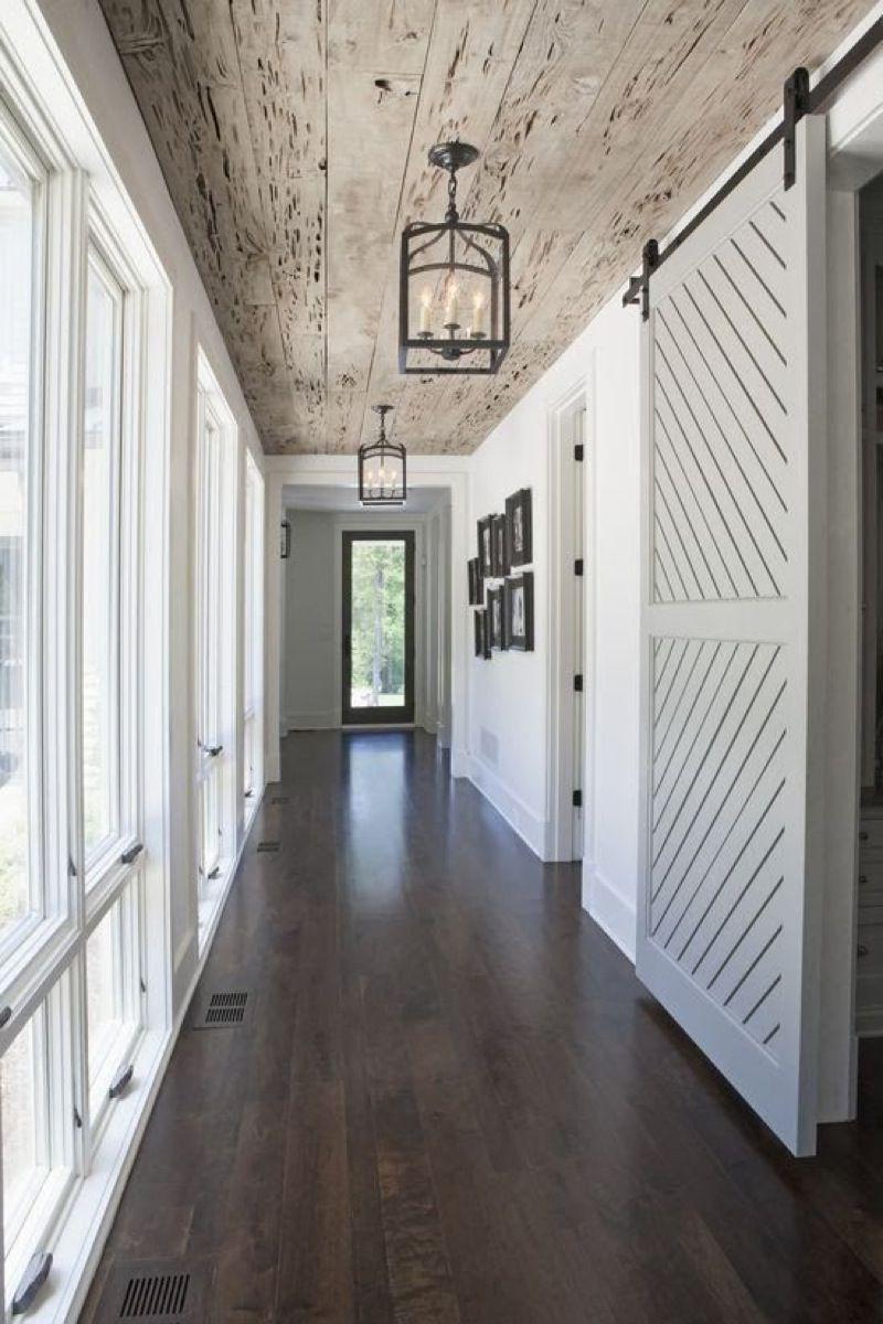 hallway with barn door