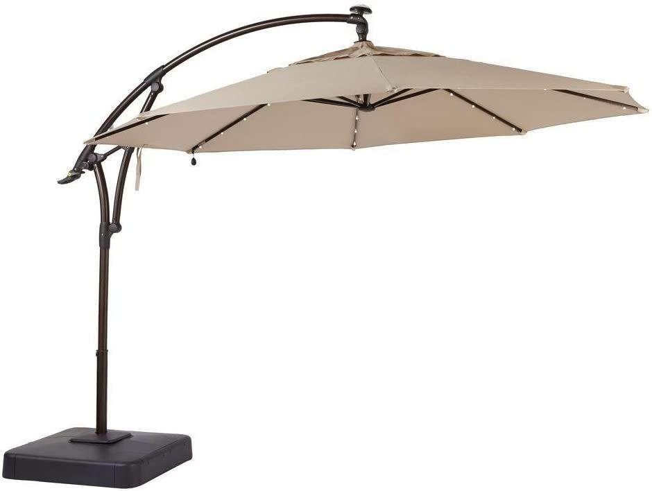 Hampton Bay 11 ft. Aluminum Cantilever Solar LED Offset Outdoor Patio Umbrella in Putty Tan
