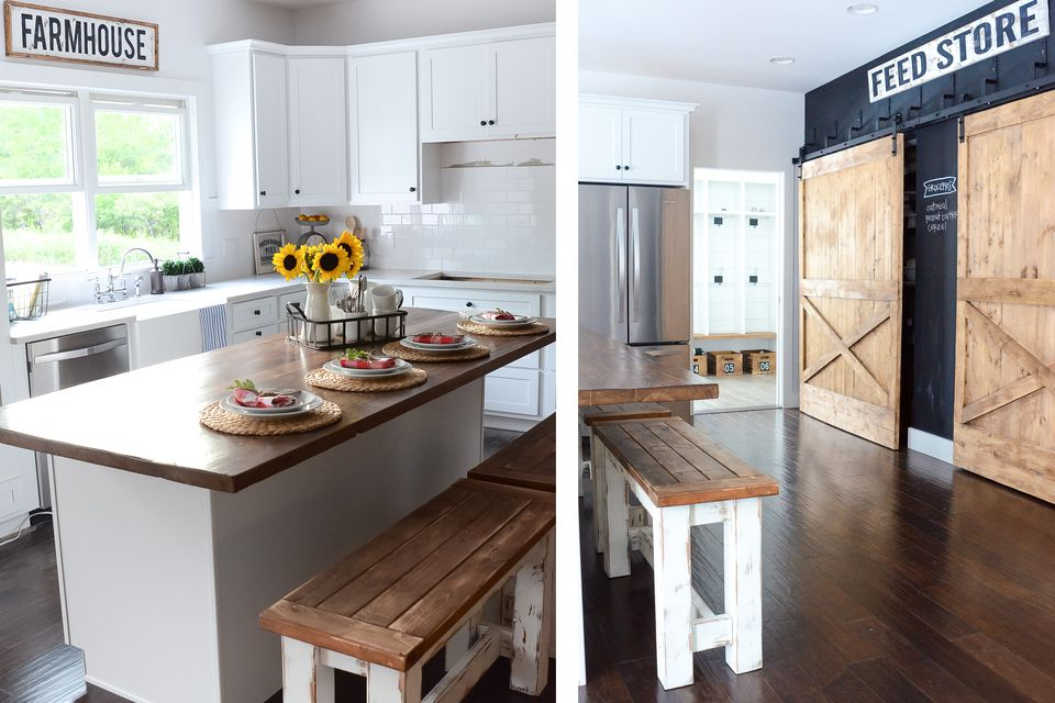 wood floor kitchen ideas Gorgeous Modern Farmhouse Kitchens