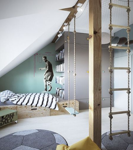 Boy S Room With Play Structure And Soccer Theme