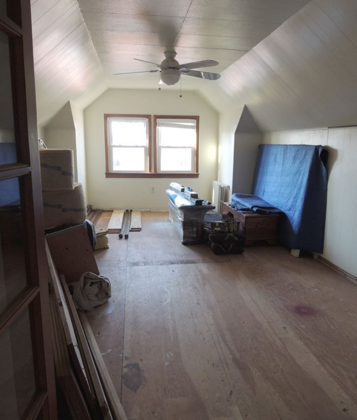 Finished attic space being used as storage.