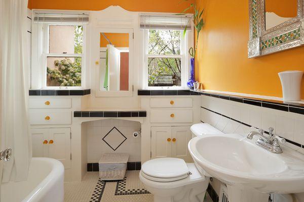 Bright orange and white colorful modern bathroom